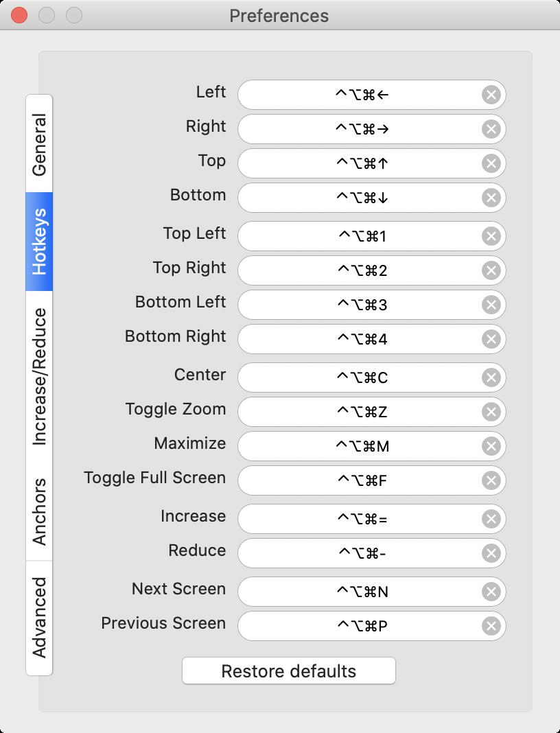 ShiftIt快捷键列表
